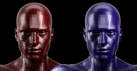 3d rendering. Two faceted red and blue android heads looking front on camera