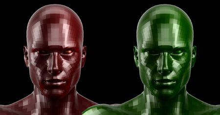 3d rendering. Two faceted red and green android heads looking front on camera Stock Photo