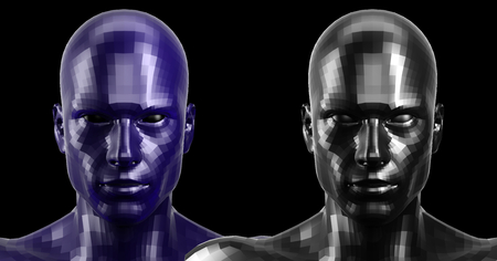 technolgy: 3d rendering. Two black and blue faceted heads looking front on camera