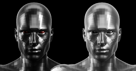 technolgy: Low poly abstract portrait of a two black and white humanoids with black and red eyes . Cybernetic Futuristic Concept for your Design. Stock Photo