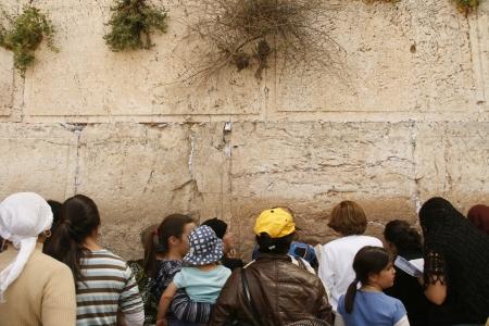 JERUSALEM - APRIL 2: Women Prayers near The Wailing Wall(Western Wall) at 2010 Passover on the women