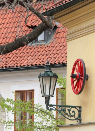 Red wheell decoration in Old Town Of Prague,Czech Republic
