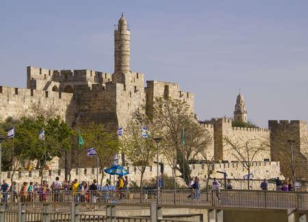 JERUSALEM - March 29,2013: Street scene in old town of Jerusalem,near the ancient city walls.Jerusalem,March 29,2013