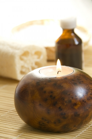 Candles and Massage oil in a Home Spa photo