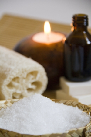 SPA Setting with soap,candle,aromatic oil and Loofah  sponge  photo