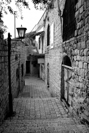 Narrow Street in Mediterranean town Black and white image  Stock Photo