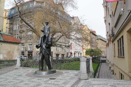 Monument for Franz Kafka. Sculptor Jaroslav Rona. Prague, Czech Republic