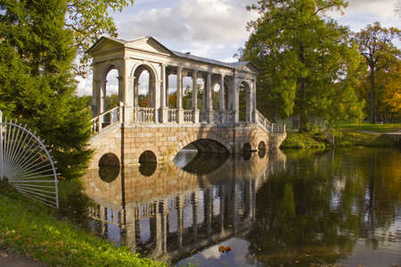 Marble Bridge in the Ekaterine Park Tzarskoye selo,St Peterburg,Russia photo