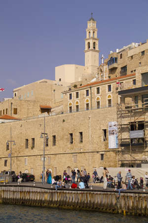 andromeda: People walking in old Jaffa Port  Israel Jaffa is one of the most ancient port cities in the world Tradition says Jaffa was founded by Japheth, son of Noah, after the Flood  Andromeda Rock, facing Jaffa