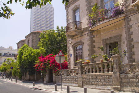 Sunny morning street in Historical Part Of Tel-Aviv - Neve Zedek Israel Editorial