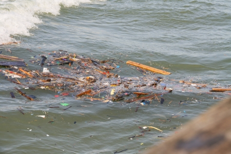 wastes: Wastes on the Sea Environmental pollution concepts Stock Photo