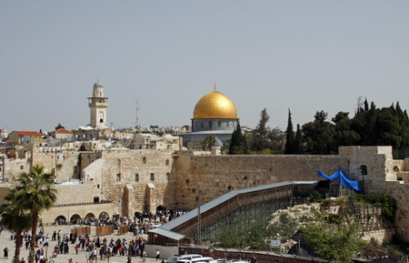love dome: A view of the Temple Mount in Jerusalem, including the Western Wall and the golden Dome of the Rock.
