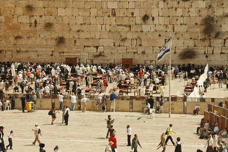 talmud: JERUSALEM - APRIL 02: Orthodox Jewish Pray at the Western Wall during the holiday of Passover on April 02 2010 in Jerusalem, Israel.