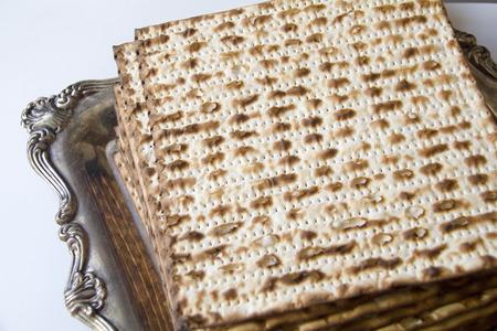 seider: Jewish Matzoh on Decorated Silver Plate  Stock Photo