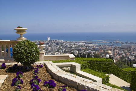 bahaullah: City of Haifa in Israel from the Bahai Garden ,View to Sea and harbor Stock Photo