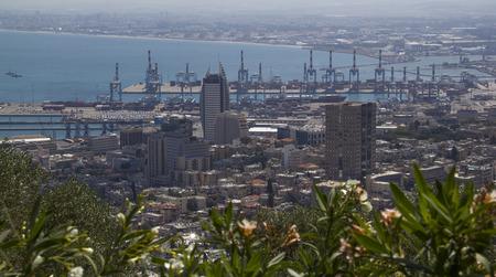 baha: City of Haifa in Israel from the Bahai Garden ,View to Sea and harbor Stock Photo