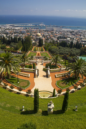 bahaullah: City of Haifa in Israel from the Bahai Garden ,View to Sea and harborCity of Haifa in Israel from the Bahai Garden ,View to Sea and harbor