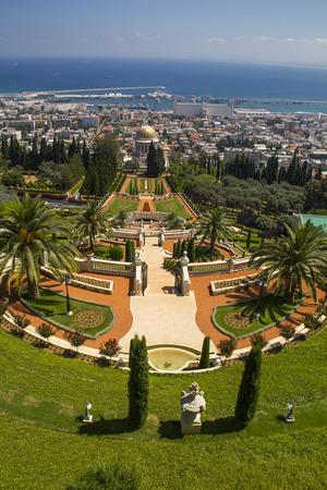 bahaullah: City of Haifa in Israel from the Bahai Garden ,View to Sea and harborCity of Haifa in Israel from the Bahai Garden ,View to Sea and harbor