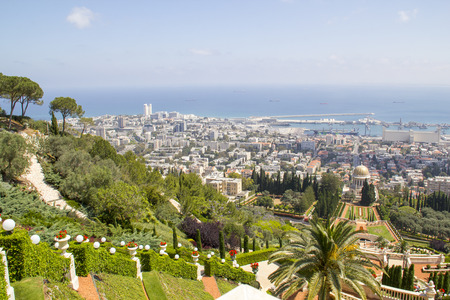 bahaullah: City of Haifa in Israel from the Bahai Garden ,View to Sea and harbor Editorial
