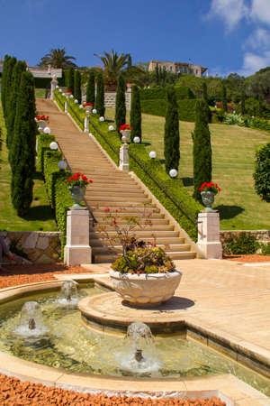 baha: Bahai Gardens in Haifa North Israel