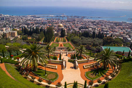 View to Bahai Gardens and Temple in Haifa North Israel