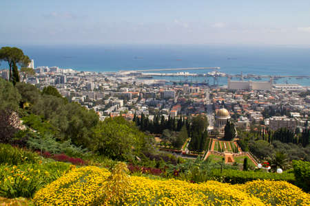 bahaullah: City of Haifa in Israel from the Bahai Garden ,View to Sea and harbor Stock Photo