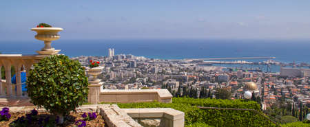 bahaullah: City of Haifa in Israel from the Bahai Garden ,Panoramic View to Sea and harbor