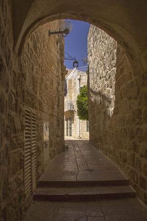 jewish quarter: Narrow street in Jewish Quarter of Jerusalem Stock Photo
