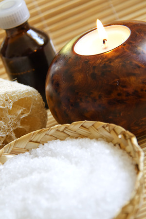 Candles and Massage oil in a Zen Style Spa photo