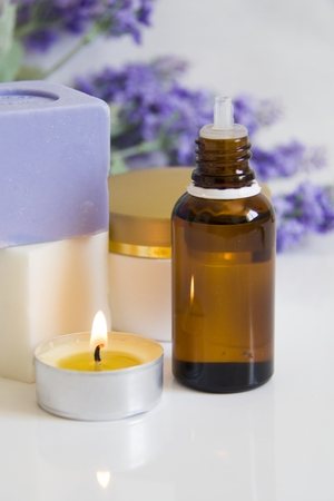 Lavenders Aromatic Candles,Soap,Cream and Massage oil in a Natural Spa photo