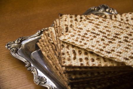 seyder: Jewish Matzoh on Decorated Silver Plate Stock Photo