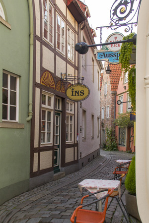 BREMEN, GERMANY - OCTOBER 7, 2014: Old town street in downtown Bremen, Germany.