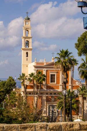 crusaders: St. Peter Catholic church in Jaffa,Israel Stock Photo