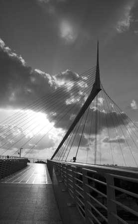 Israel - Petach-Tikwa skywalk pedestrian bridge designed by the Spanish architect and engineer Santiago Calatrava. photo
