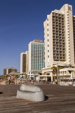 Tel Aviv,Israel - APRIL 7, 2015: Modern  Hotels on the on Mediterranean Seashore in Tel-Aviv in sunny day.New Promenade is popular  place for tourists and locals.Israel