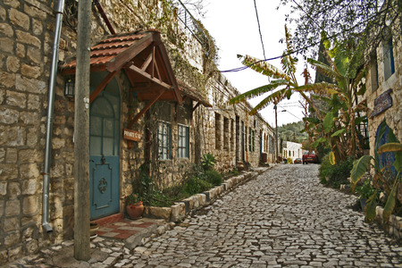 medeival: Street in old town Rosh Pina.Horisontal format.Israel Stock Photo