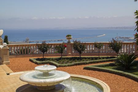 bahaullah: City of Haifa in Israel from the Bahai Garden ,View to Sea and habor Stock Photo