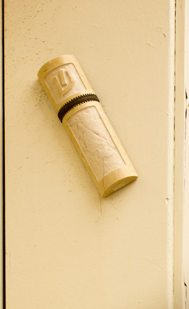 mezuzah: A mezuzah (doorpost) is a piece of parchment (often contained in a decorative case) inscribed with specified Hebrew verses from the Torah