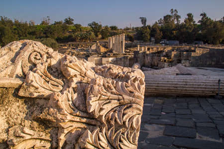 archeological site: View to rich archeological site in Beit Shean (Scythopolis), Israel.