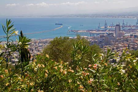 bahaullah: City of Haifa in Israel from the Bahai Garden ,View to Sea and habor Stock Photo