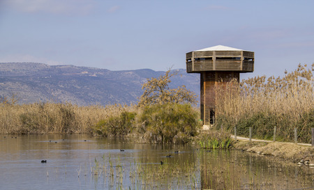nature reserves of israel: Birds watching Tower in Hula Nature Reserve in north Israel.Lake Hula - Israel Nature and Wildlife Park