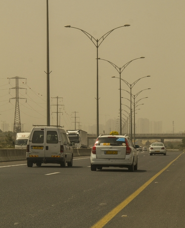 warned: Sandstorm in Central Part of Israel - 11th Sep, 2015., A dense sandstorm engulfing parts of the Middle East left at least eight people dead and hundreds suffering from respiratory problems, as officials warned residents to stay indoors