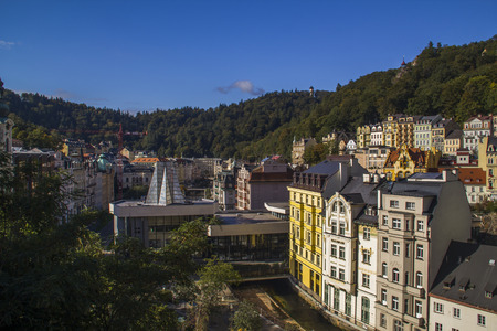 karlovy: Karlovy Vary,Czech Republic - September 27: Panoramic View in Karlovy Vary aka Carlsbad,Czech famous SPA place on  September 27, 2015 in Karlovy Vary. Karlovy Vary historically famous for its hot springs 13 main springs, about 300 smaller