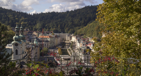 czech culture: Panoramic View in Karlovy Vary,Czech famous SPA place. Karlovy Vary historically famous for its hot springs 13 main springs, about 300 smaller Editorial