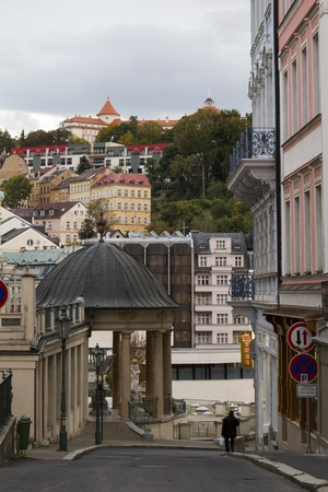 karlovy vary: KARLOVY VARY - September 29,2015 : KARLOVY VARY - September 29,2015 : Tourists in city center of Karlovy Vary,Mineral Water Springs - Famous SPA Place In Europe on 29 September,2015,Karlovy Vary,Czech Republic
