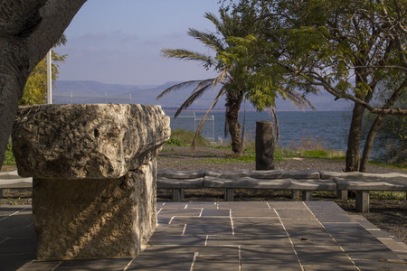 Ruins in Capernaum- the seashore on the Sea of Galilee,Israel .Capernaum was a village in the time of the Hasmoneans, located on the northern shore of the Sea of Galilee,home of Saint Peter.