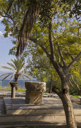 kefar: Seashore on the Sea of Galilee,Israel .Capernaum was a village in the time of the Hasmoneans, located on the northern shore of the Sea of Galilee,home of Saint Peter. Stock Photo
