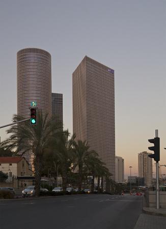 azrieli: TEL AVIV - March 04: Evening view on Azriely Buildings ,The Azrieli is a complex of skyscrapers March 04, 2016 in Tel Aviv, Israel. The circular building is the tallest in Tel Aviv and 2nd tallest in Israel.