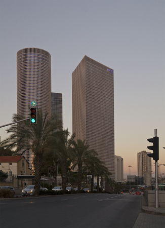 TEL AVIV - March 04: Evening view on Azriely Buildings ,The Azrieli is a complex of skyscrapers March 04, 2016 in Tel Aviv, Israel. The circular building is the tallest in Tel Aviv and 2nd tallest in Israel.