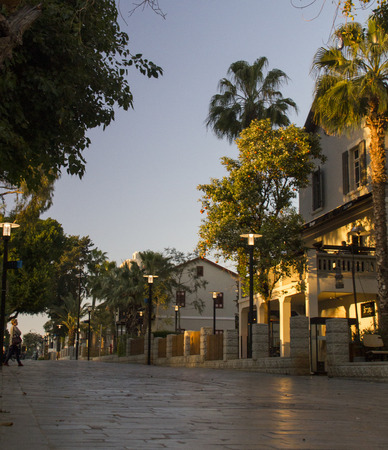 azrieli: Tel Aviv, Israel - March 4, 2016: Sarona - Reconstracted district in Tel Aviv, former Templiers settlement ,Israel, is a culture, leisure and shopping center build on 37 original restored buildings of old settlement from 1871. Editorial